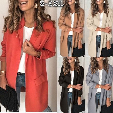 new solid color long-sleeved fake pocket casual suit jacket  NHUO270483's discount tags