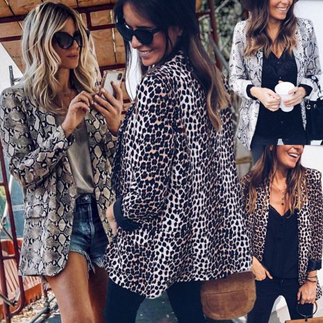 sexy snake print leopard print long-sleeved blouse suit jacket NHUO270482's discount tags