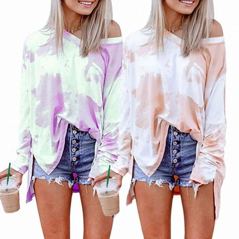 Gradient color tie-dye printing casual fashion women's long-sleeved top NHUO270481's discount tags