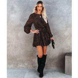new style printed round neck long-sleeved ruffled skirt  NHJG270476