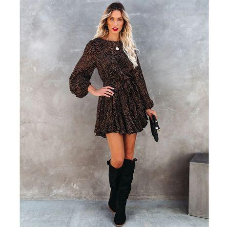 Falda con volantes de manga larga y cuello redondo estampada de nuevo estilo NHJG270476's discount tags