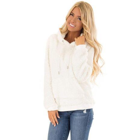 suéter con capucha de felpa cálida con bolsillo de nuevo estilo NHJG270475's discount tags