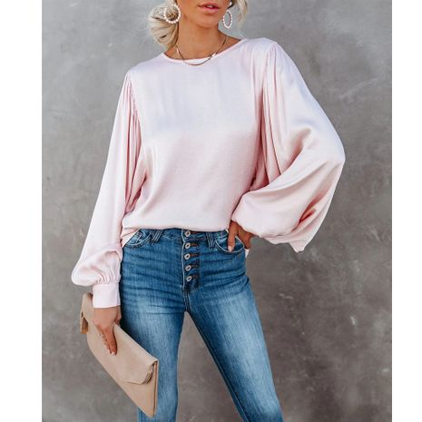 new solid color satin large lantern sleeve round neck all-match blouse NHJG270474's discount tags