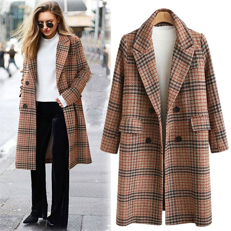 Women's plus size loose mid-length plaid woolen coat woolen coat NHJC270473