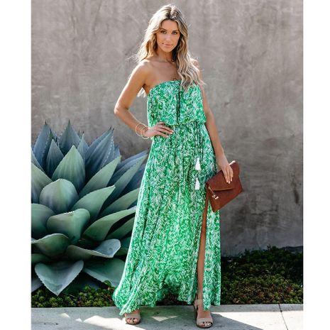 nuevo vestido con abertura y volantes con hombros descubiertos y estampado de hojas NHJG270472's discount tags