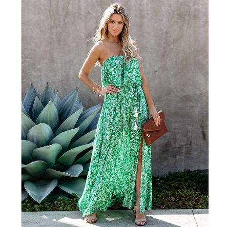 new leaf print off-shoulder ruffled slit dress NHJG270472's discount tags
