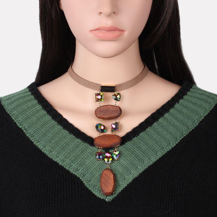 Handmade Jewelry Log Crystal Choker Wooden Velvet Necklace NHRN270533