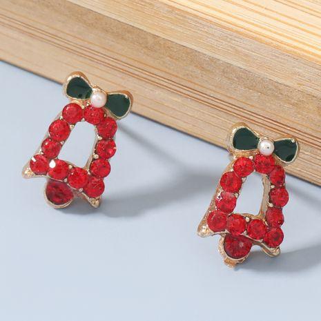 Boucles d'oreilles cloche rouge diamant acrylique série Noël NHJE270556's discount tags