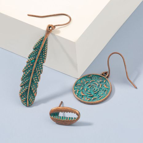 Fashion retro flower leaf alloy cyan spray paint 3-piece personalized earrings  NHJE270561's discount tags