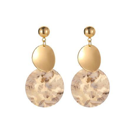 boucles d'oreilles créatives géométriques rondes en acrylique rétro or floral NHMO270591's discount tags