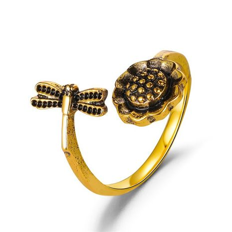 new open  retro dragonfly sunflower ring  NHMO270601