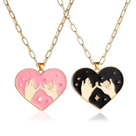 pull hook sweet heart couple black pink pendant necklace set  NHMO270622's discount tags