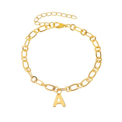 creative new wild shiny diamond capital English letter A anklet NHMO270631's discount tags