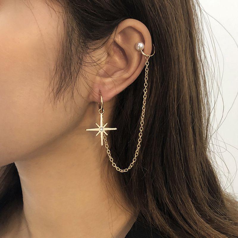 creative six-pointed star diamond-studded pearl  earrings NHMD270655