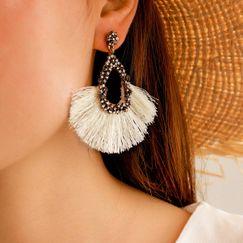 new ethnic rhinestones bohemian fan-shaped tassel earrings NHGY270682