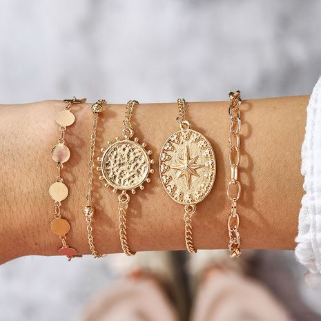 Creative gold disc thick chain bracelet 5-piece set  NHGY270683's discount tags