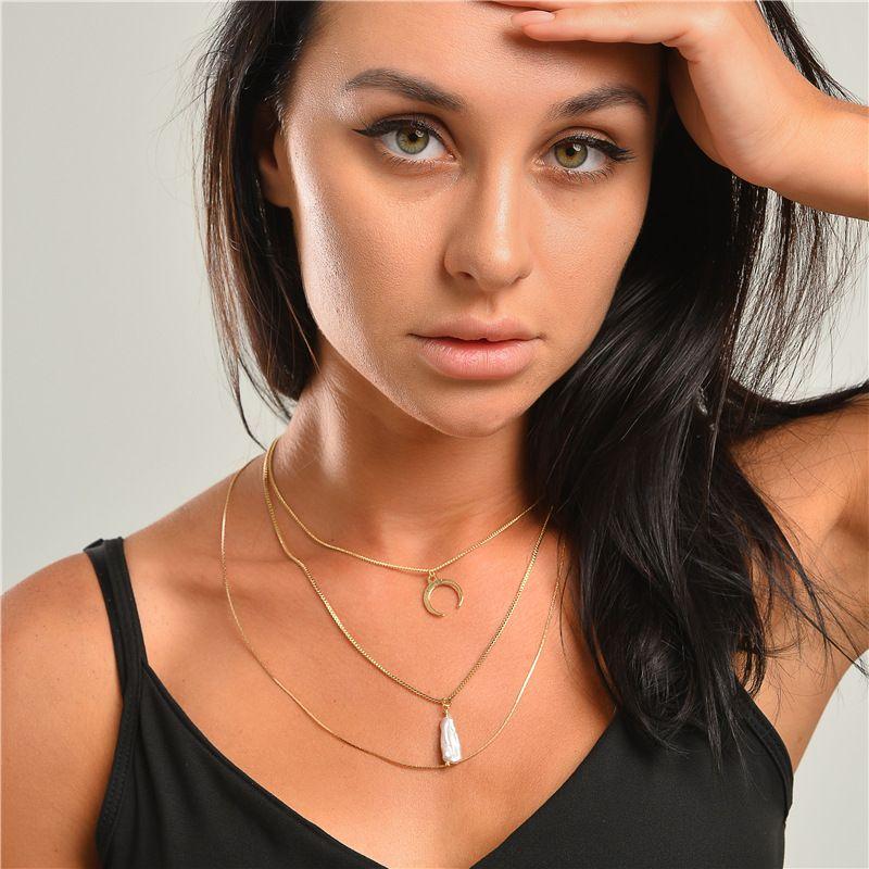 fashion natural freshwater pearl horn multilayer necklace 3piece set wholesale NHLU270697