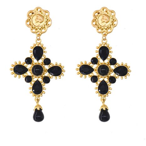 new fashion pearl full diamond baroque cross palace exaggerated earrings NHNT270709's discount tags