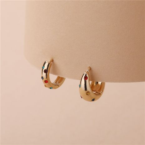 wholesale copper accessories opened colorful gemstone earrings  NHLU270711's discount tags