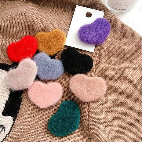 Clip BB de couleur unie simple amour fourrure coréen NHHI270723's discount tags