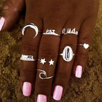 fashion star love shell moon ring set NHOT270725