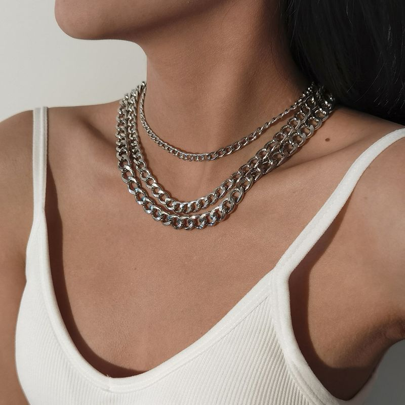 retro simple multilayer thick chain punk hiphop style clavicle necklace NHXR270756