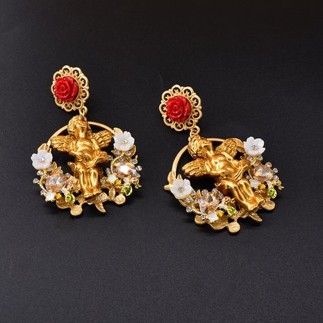 Medieval Baroque Palace Angel Rose Flower Earrings  NHNT270842's discount tags
