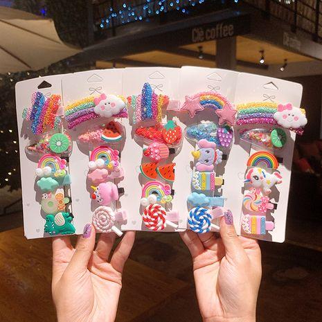 Niedliche Bonbonfarbe Regenbogen-Haarnadel der koreanischen Kinder NHSA270847's discount tags