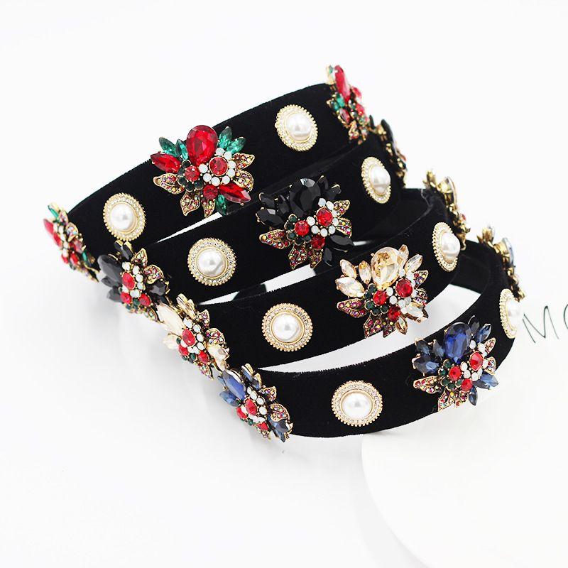 fashion baroque simple gems flowers pearl ladies prom headband  NHWJ270867