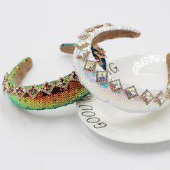 New  fashion sponge colorful scales diamond-studded gems luxury headband  NHWJ270874