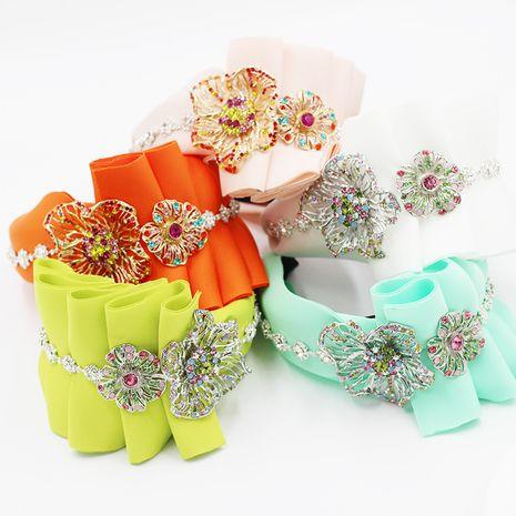 fashion sponge cloth art diamond-studded metal flower corrugated flower headband  NHWJ270875's discount tags