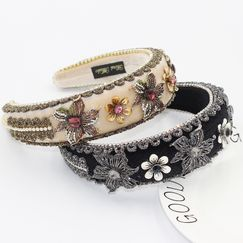 Baroque Metal Flower Sponge Exaggerated Diamond Retro headband  NHWJ270876