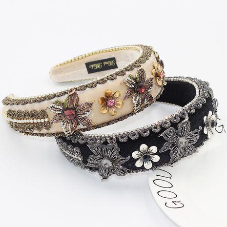 Baroque Metal Flower Sponge Exaggerated Diamond Retro headband  NHWJ270876's discount tags