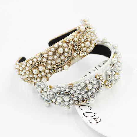 fashion style pearl-studded rice beads particle geometric headband NHWJ270877's discount tags