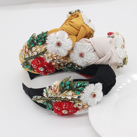 fashion fabrics  diamonds handmade flowers headband  NHWJ270878's discount tags