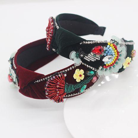 Nueva franela de moda con diadema de rosas hechas a mano de diamantes NHWJ270881's discount tags