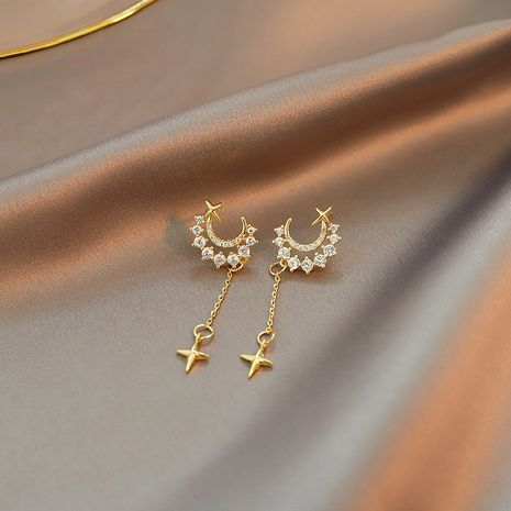 925 silver needle moon star tassel earrings  NHXI270890's discount tags