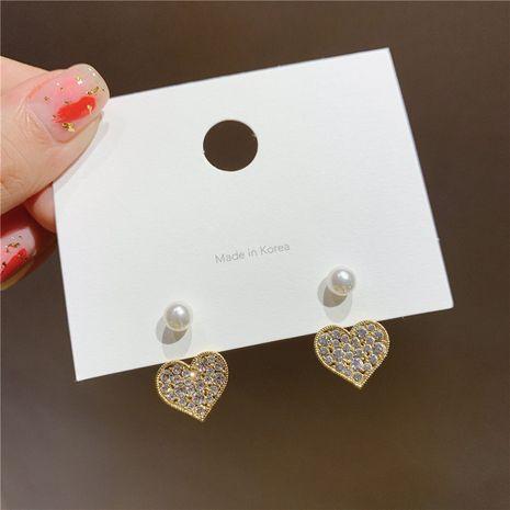 Korean S925 Silver Needle Diamond Heart Pearl Boucles d'oreilles NHXI270897's discount tags