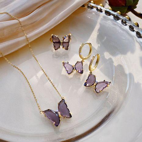 Korean purple zircon butterfly sweet earrings necklace set  NHXI270898's discount tags