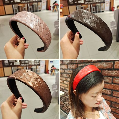 new  simple PU imitation leather plaid headband  NHUX270913's discount tags