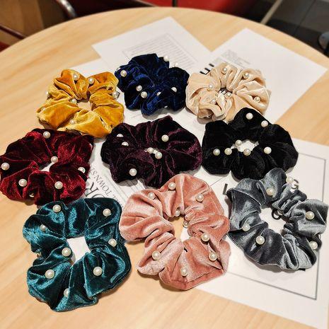 Scrunchies coreanos del pelo del terciopelo del oro de la nueva tela NHUX270914's discount tags