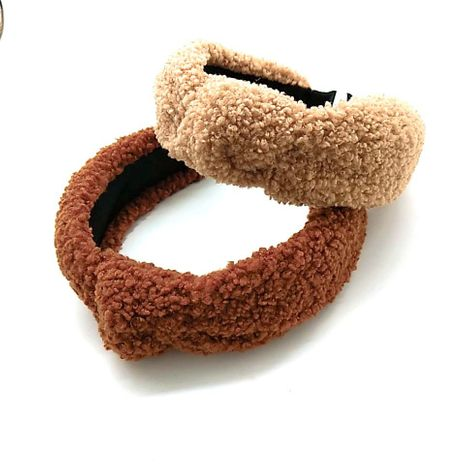 new lamb hair knotted hair band high-end pure color headband  NHUX270912's discount tags