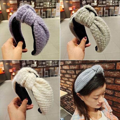Korea's new  woolen lattice weaving knotted headband  NHUX270920's discount tags