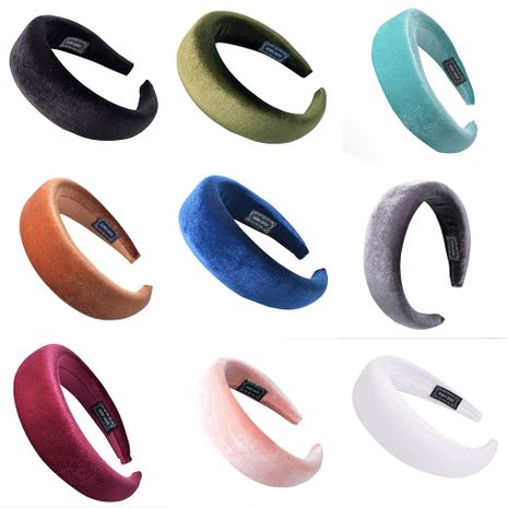 diadema de tela de color liso con esponja de terciopelo NHUX270923's discount tags