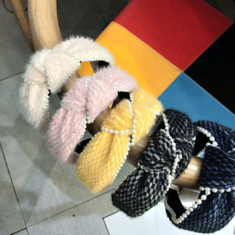 Korean  new high-end woolen knotted hair band NHUX270926's discount tags