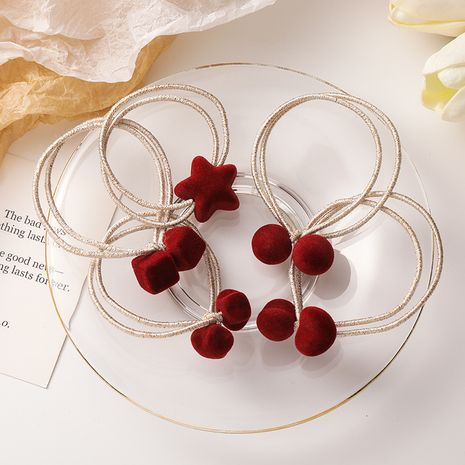 Retro red velvet~all-match star love geometric hair rope  NHMS270964's discount tags
