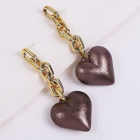Creative long heart-shaped resin exaggerated acrylic earrings  NHLA270994's discount tags