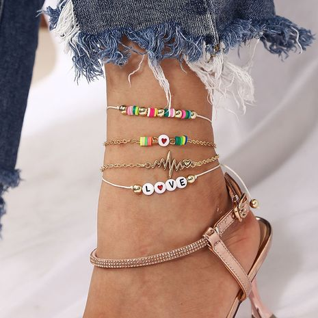 Beach hand-woven soft pottery love letter bracelet  NHLA270995's discount tags
