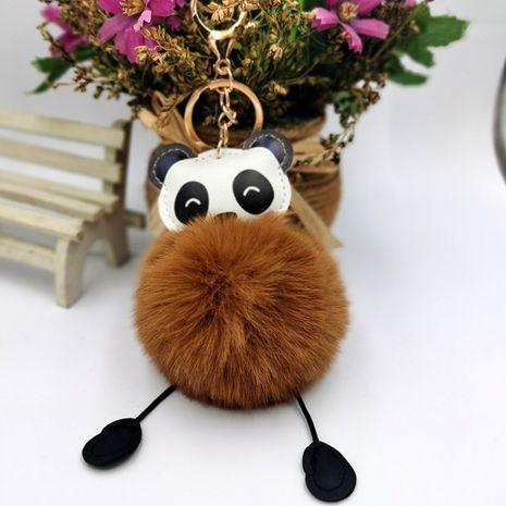 PU leather panda fur ball keychain  NHDI271008's discount tags
