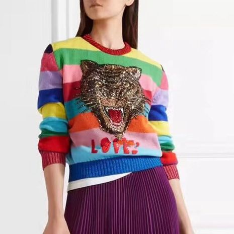 Autumn and winter rainbow stripes embroidery tiger head crew neck sweater NHEK271268's discount tags
